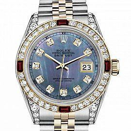 Men's Rolex 36mm Datejust Two Tone Jubilee Tahitian MOP Mother of Pearl Diamond Dial Bezel + Lugs + Rubies