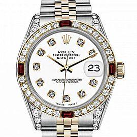 Men's Rolex 36mm Datejust Two Tone Jubilee White Color Dial Diamond Accent Bezel + Lugs + Rubies