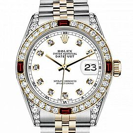 Men's Rolex 36mm Datejust Two Tone Jubilee White Color Dial Diamond Accent RT Bezel + Lugs + Rubies