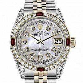 Men's Rolex 36mm Datejust Two Tone Jubilee White MOP String Diamond Dial Bezel + Lugs + Rubies