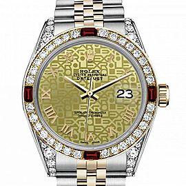 Men's Rolex 36mm Datejust Two Tone Jubilee Champagne Gold Jubilee Roman Numeral Dial Bezel + Lugs + Rubies