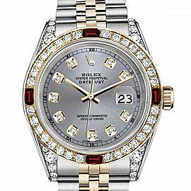 Men's Rolex 36mm Datejust Two Tone Jubilee Grey Color Dial Diamond Accent RT Bezel + Lugs + Rubies