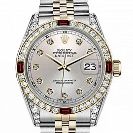 Men's Rolex 36mm Datejust Two Tone Jubilee Silver Color Dial Diamond Accent RT Bezel + Lugs + Rubies