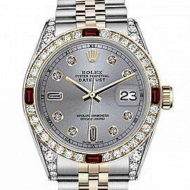 Men's Rolex 36mm Datejust Two Tone Jubilee Slate Grey Color Dial 8 + 2 Diamond Accent Bezel + Lugs + Rubies