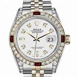 Men's Rolex 36mm Datejust Two Tone Jubilee White Color Dial 8 + 2 Diamond Accen Bezel + Lugs + Rubies