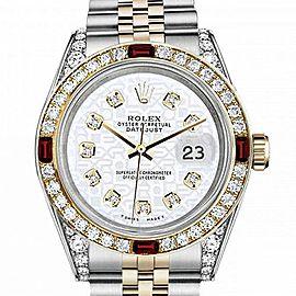 Men's Rolex 36mm Datejust Two Tone Jubilee White Color Jubilee Dial Diamonds Bezel + Lugs + Rubies