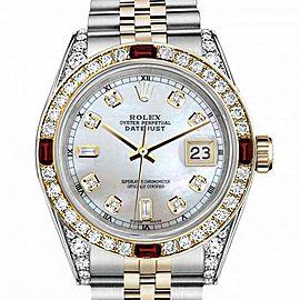 Men's Rolex 36mm Datejust Two Tone Jubilee White MOP Mother of Pearl Dial Diamond Accen Bezel + Lugs + Rubies