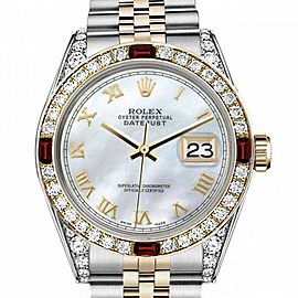 Men's Rolex 36mm Datejust Two Tone Jubilee White MOP Mother Of Pearl Roman Numeral Dia Bezel + Lugs + Rubies