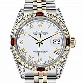 Men's Rolex 36mm Datejust Two Tone Jubilee White Roman Numeral Dial Bezel + Lugs + Rubies