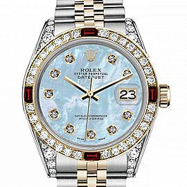 Men's Rolex 36mm Datejust Two Tone Jubilee Baby Blue MOP Mother Of Pearl Dial Diamond Accent Bezel + Lugs + Rubies