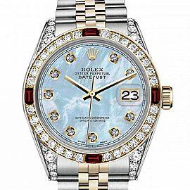 Men's Rolex 36mm Datejust Two Tone Jubilee Baby Blue MOP Mother Of Pearl Dial Diamond RRT Bezel + Lugs + Rubies