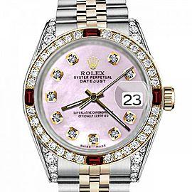 Men's Rolex 36mm Datejust Two Tone Jubilee Pink MOP Mother Of Pearl Diamond Dial Bezel + Lugs + Rubies