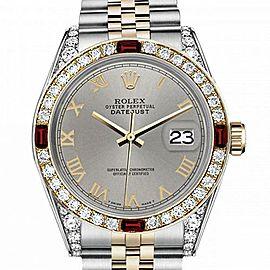 Men's Rolex 36mm Datejust Two Tone Jubilee Slate Grey Roman Numeral Dial Bezel + Lugs + Rubies