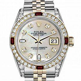 Men's Rolex 36mm Datejust Two Tone Jubilee White MOP Mother Of Pearl 8 + 2 Diamond Dial Bezel + Lugs + Rubies