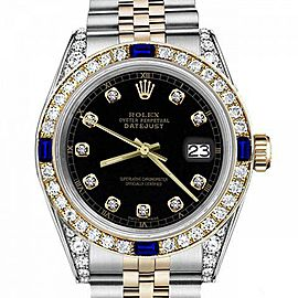Ladies Rolex 26mm Datejust Two Tone Jubilee Black Color Dial Bezel+Lugs+Sapphire