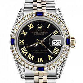 Ladies Rolex 26mm Datejust Two Tone Jubilee Black Color Roman Numeral Dial Bezel + Lugs + Sapphire