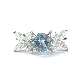 Tiffany & Co. Platinum Victoria Diamond Aquamarine Ring