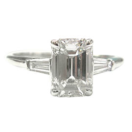 Tiffany & Co. PT950 Platinum with 1.60ct Emerald and Baguette Diamond Engagement Ring Size 5
