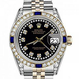 Ladies Rolex 26mm Datejust Two Tone Jubilee Black Color String Diamond Accent Dial Bezel + Lugs + Sapphire
