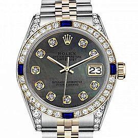 Ladies Rolex 26mm Datejust Two Tone Jubilee Black MOP Mother Of Pearl Dial Diamonds Bezel + Lugs + Sapphire