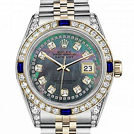 Ladies Rolex 26mm Datejust Two Tone Jubilee Black MOP Mother of Pearl String Diamond Accent Dial Bezel + Lugs + Sapphire