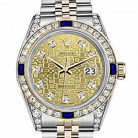 Ladies Rolex 26mm Datejust Two Tone Jubilee Champagne Gold Jubilee Metal Plate Dial Bezel + Lugs + Sapphire