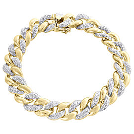 925 Sterling Silver 3ct Diamond Cuban Bracelet