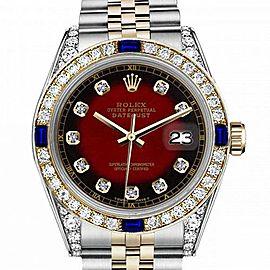 Ladies Rolex 26mm Datejust Two Tone Jubilee Red Vignette Color Dial Diamond Accent RT Bezel + Lugs + Sapphire