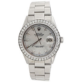 Rolex Datejust 1601 Stainless Steel White Mother Pearl Dial with 2.00ct Diamond 36mm Mens Watch