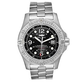 Breitling Superocean Steelfish Black Dial Mens Watch A17390 Box Papers