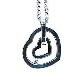 Chopard Happy Diamond 18K White Gold Diamond Double Hearts Pendant Necklace