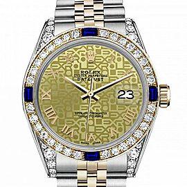 Ladies Rolex 26mm Datejust Two Tone Jubilee Champagne Gold Jubilee Roman Numeral Dial Bezel + Lugs + Sapphire