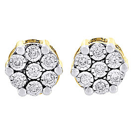 10K Yellow Gold with 0.40ct Diamond Flower Studs Earrings