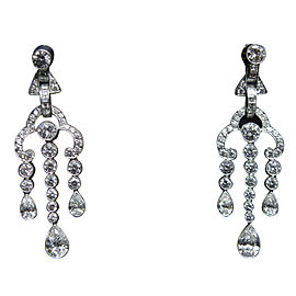 Tiffany & Co. 950 Platinum Legacy 3.90ct Multi Shape Diamond Triple Drop Earrings