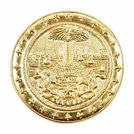 Chanel 'CC' Logo Gold Tone Carved Metal Palm Tree Lion Circle Pin Brooch