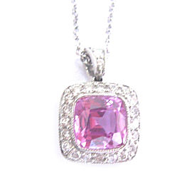 Tiffany & Co. Platinum Pink Sapphire Diamond Legacy Pendant Necklace