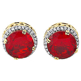10K Yellow Gold with 0.19ct Diamond & Lab-Created Ruby Halo Stud Earrings