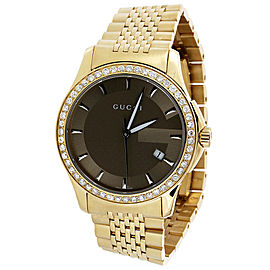 Gucci YA126406 Stainless Steel and Gold PVD with Brown Dial Quartz 38mm Mens Watch