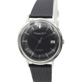 IWC Stainless Steel Automatic Black Dial Vintage Mens Watch