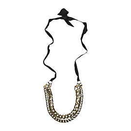 Lanvin Brass Tone Rhinestone Double Curb Chain Ribbon Necklace