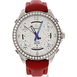 Jacob & Co. Five Time Zones Diamond Bezel Red Leather Strap Men's Watch