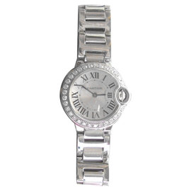 Cartier Ballon Bleu 85325MX 18K White Gold Quartz Diamond 28mm Watch