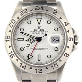 Rolex Explorer II 16570T Stainless Steel Date Sel 40mm White Mens Watch