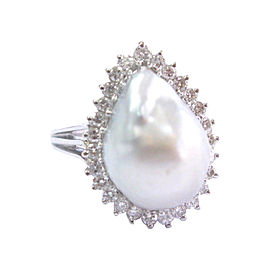 14K White Gold Pearl 1.00ct Diamond Ring