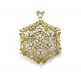 18K Yellow Gold 1.20ct Diamond Pendant/Brooch