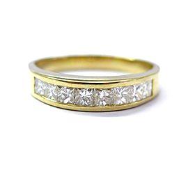 18K Yellow Gold 1.26ct Princess Cut Diamond Channel Set Band 8-Stone Ring