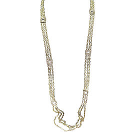 18K Yellow Gold 3.28ct Diamond 3-Row Square Station Necklace