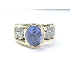 14K Yellow Gold 3.53ct Tanzanite Diamond Ring