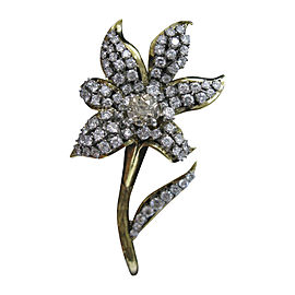 18K Yellow Gold 3.50ct. Old European Cut Diamond Flower Brooch