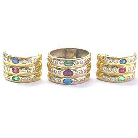 18k Yellow Gold Multi Gem 3.51Ct Diamond Earrings & Ring